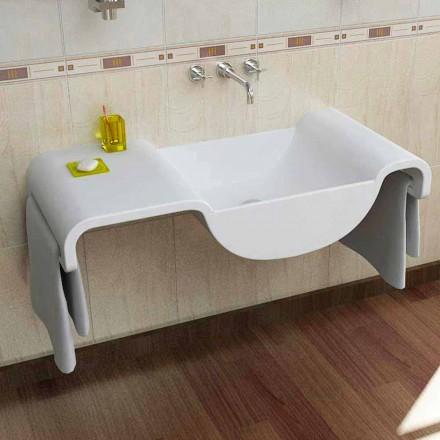 Lavabo suspendu blanc de design moder e fabriqué en Italie Onda