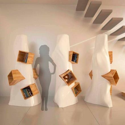 Bibliothèque moderne en bois et Solid Surface® faite en Italie, K2