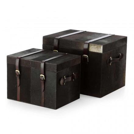 Deux malles de design en poil de vachette brun foncé, Ceskini
