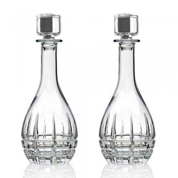 2 bouteilles avec bouchon à vin rond en cristal décoré - Fiucco