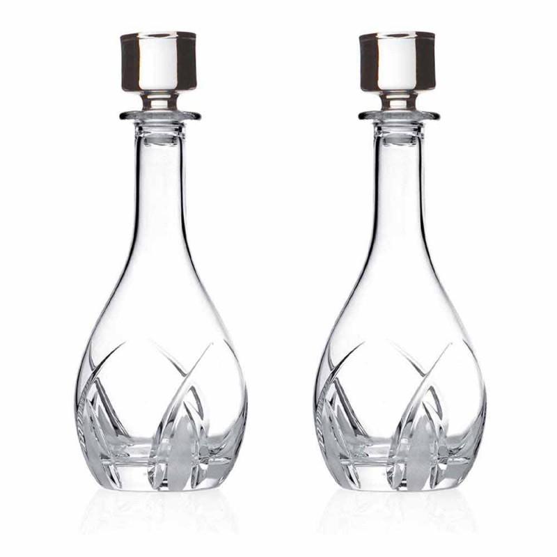 2 bouteilles de vin avec couvercles design ronds en cristal écologique - Montecristo