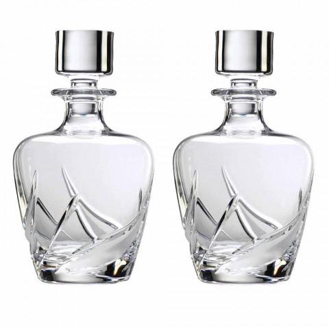 2 bouteilles de whisky en cristal avec bouchon design décoré de luxe - Avent