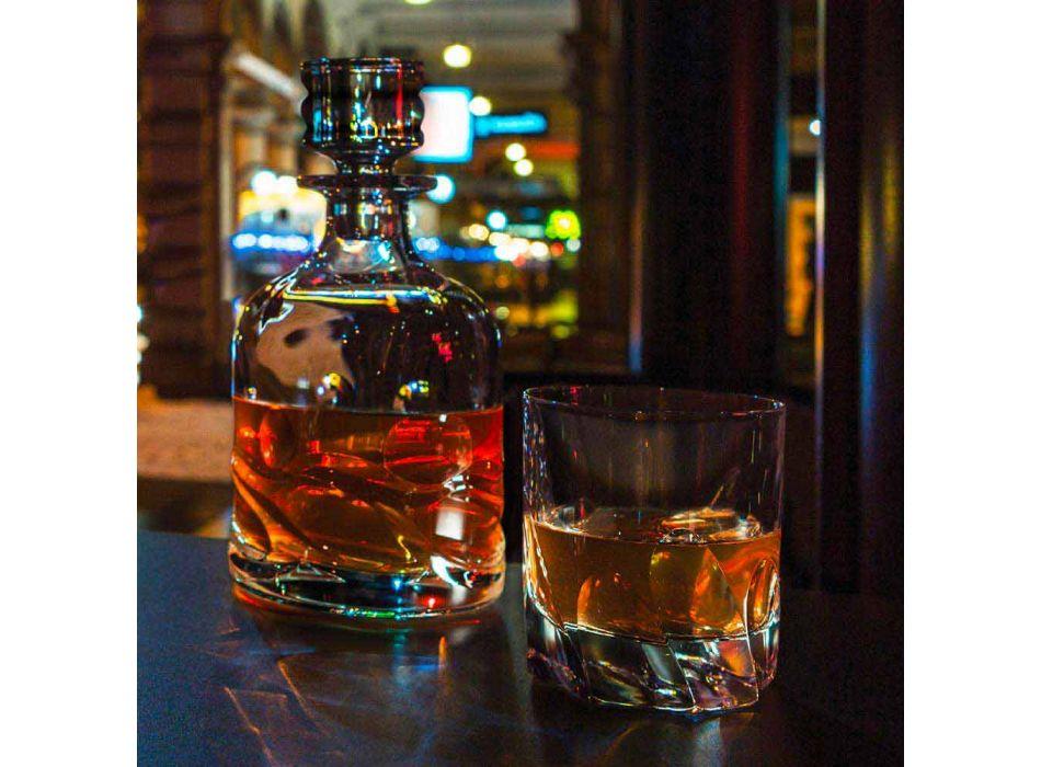 2 bouteilles de whisky en cristal décorées éco et bouchon design de luxe - Titane
