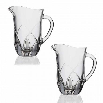 2 cruches d'eau en cristal écologiques de luxe décorées à la main - Montecristo
