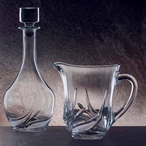 2 cruches à eau en cristal écologique avec des décorations de luxe Made in Italy - Avent