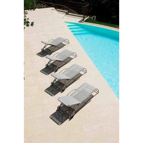 2 chaises longues d'extérieur empilables en métal et tissu Made in Italy - Perlo