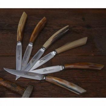 2 couteaux à steak avec manche en corne de boeuf ou bois fabriqués en Italie - Marino