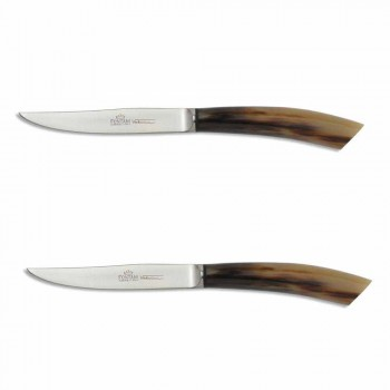 2 couteaux à steak avec manche en corne ou en bois Made in Italy - Marino