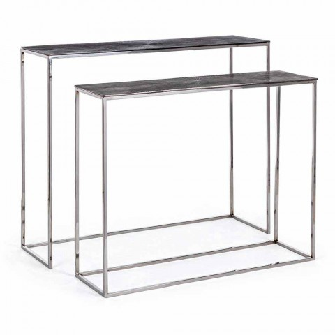 2 Consolle en Acier et Aluminium Plaqué Design Moderne Homemotion - Narnia