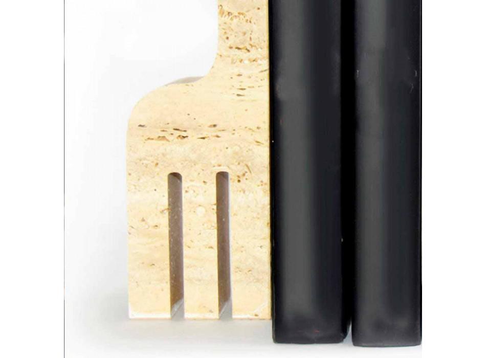 2 Serre-livres en marbre travertin en forme de girafe Made in Italy - Morra