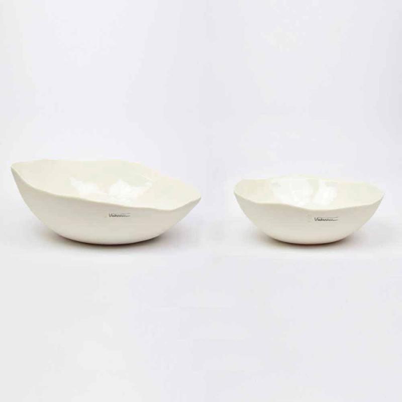 2 bols à salade en porcelaine blanche Pièces uniques de design italien - Arciconcreto