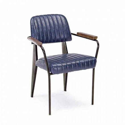 2 Chaises Homemotion en similicuir effet vintage avec accoudoirs - Clare