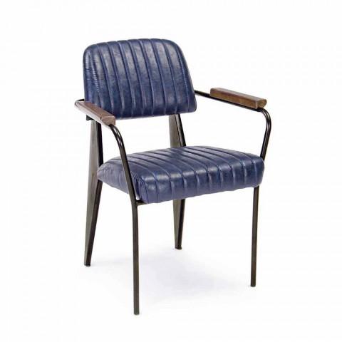2 Chaises avec Accoudoirs en Similicuir Effet Vintage Homemotion - Clare