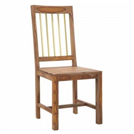 Paire de 2 chaises de cuisine design entièrement en bois - Sandy