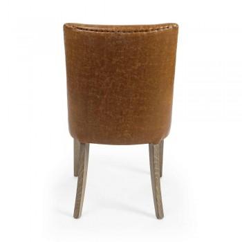 2 Chaises Design en Similicuir Marron et Bois de Chêne Homemotion - Gallia