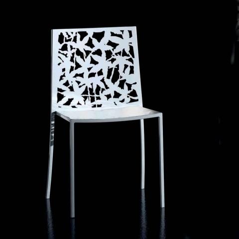 2 chaises en métal blanc sculpté au laser de conception moderne - Patatix