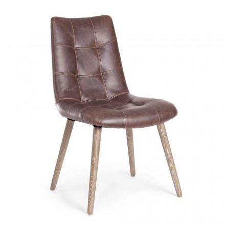 2 chaises de style industriel moderne recouvertes de similicuir Homemotion - Riella