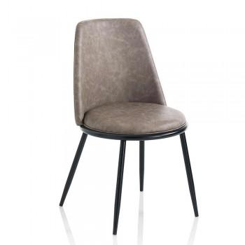 2 chaises de salle à manger modernes en similicuir et métal noir mat - Frizzi