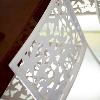 2 tabourets en métal blanc découpé au laser design bas ou haut - Patatix