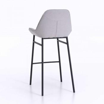 2 tabourets modernes en métal avec assise en microfibre ou simili cuir - Bellino