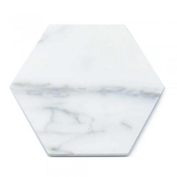 2 dessous de verre hexagonaux en marbre blanc, noir ou vert fabriqués en Italie - Paulo