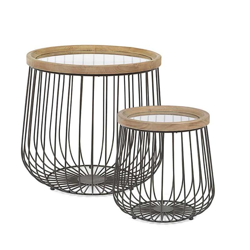 2 Tables Basses Homemotion avec Plateau Rond en Verre et Bois - Randolo