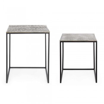 2 Tables Basses Homemotion en aluminium et acier peint - Sereno
