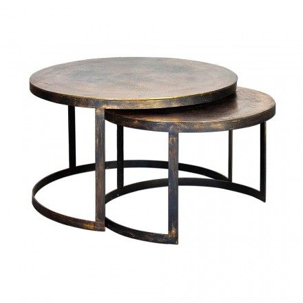 2 Tables basses rondes en bronze et fer au design moderne - Joint