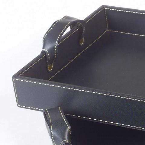 2 dessins cuir noir Plateau 41x28x5cm et 45x32x6cm Anastasia