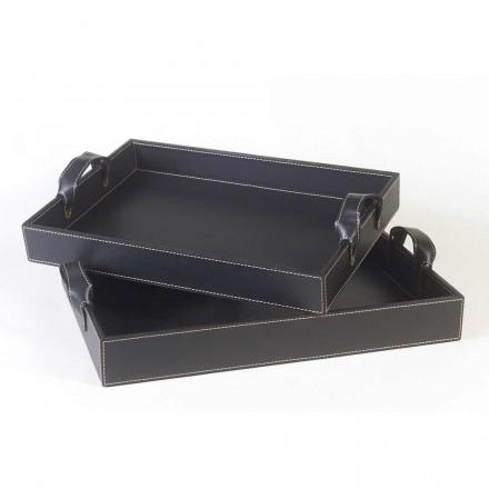 2 plateaux de design en cuir noir  41x28x5cm e 45x32x6cm Anastasia