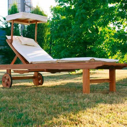 Bain de soleil réglable en bois de teck