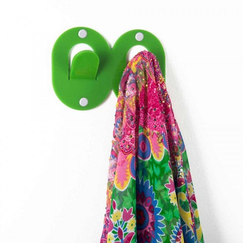 3 Cintres Muraux en Plexiglas Coloré Double Design Italien avec Clip - Freddie