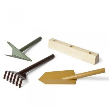 3 outils de jardinage en métal avec base en bois Made in Italy - Jardin
