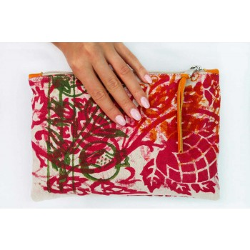 3 Pochettes en coton imprimées à la main en pièces uniques - Viadurini by Marchi