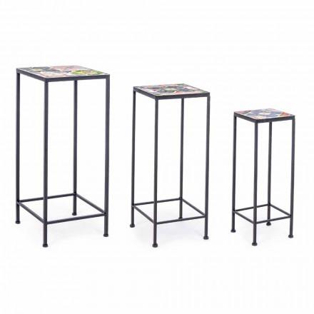 3 Tables de jardin design carrées en acier avec décors - Enchanteur