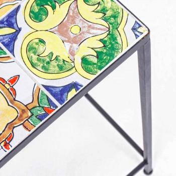 3 Tables de jardin carrées en acier avec décors - Enchanteur