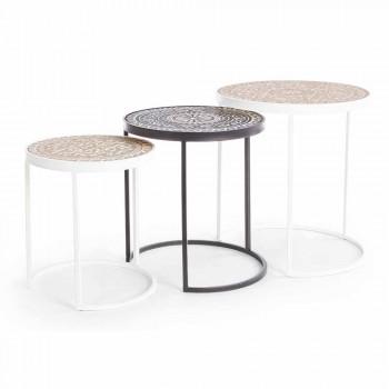 3 Tables Basses en Mdf avec Décorations Incrustées Homemotion - Mariam