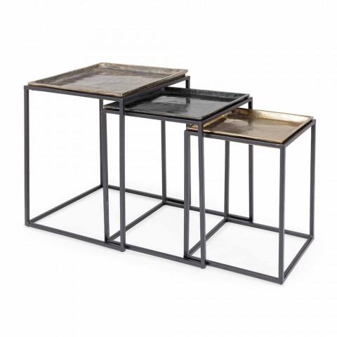 3 Tables Basses Carrées en Aluminium et Acier Homemotion - Quinzio