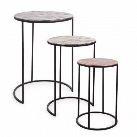 3 Tables Basses Rondes en Aluminium et Acier Homemotion - Sempronio