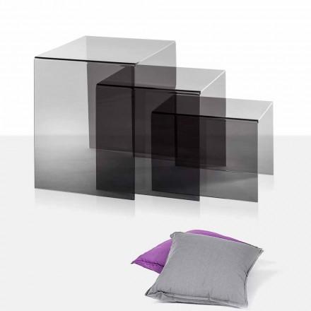 3 tables fumé superposables de design Amalia, faites en Italie