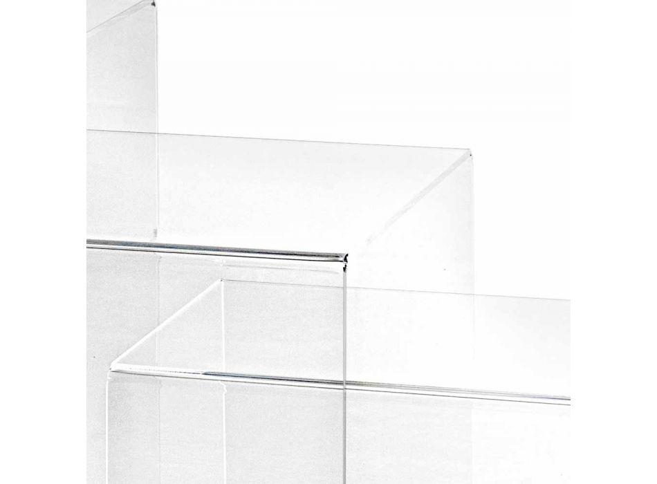3 tables empilables transparentes conception Amalia, faite en Italie