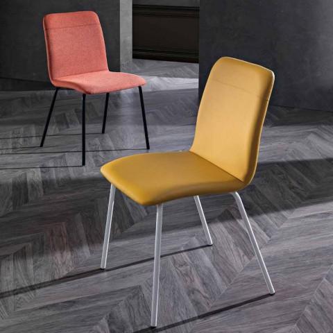 4 chaises de cuisine ou de salon en cuir écologique coloré et design en métal - Hermione