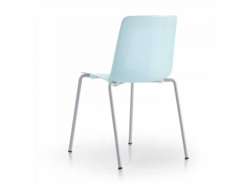 4 chaises d'extérieur empilables en métal et polypropylène fabriquées en Italie - Carita