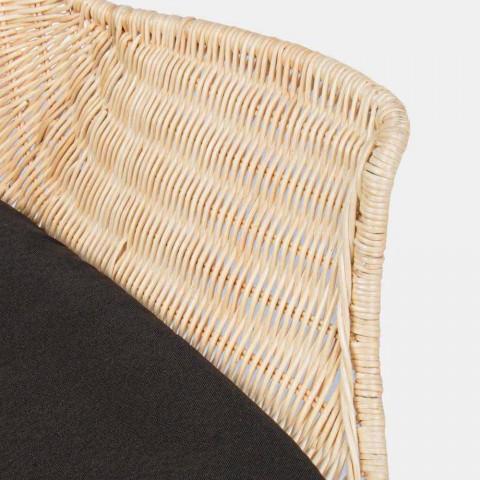 4 chaises d'extérieur en osier tissé et acier Homemotion - Berecca