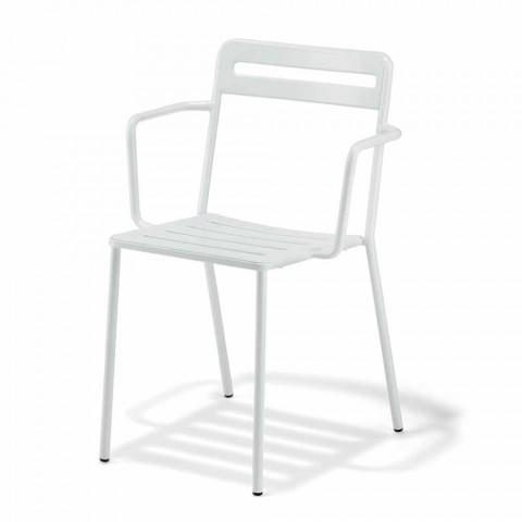 4 chaises d'extérieur empilables en métal fabriquées en Italie - Yolonda