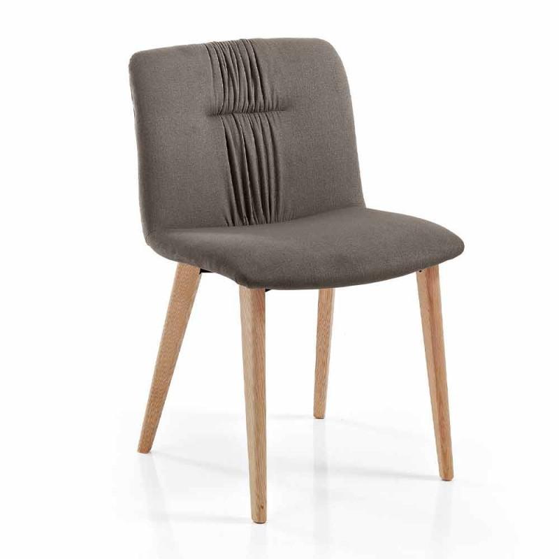 4 chaises de salon rembourrées en tissu et pieds en frêne design - Florinda