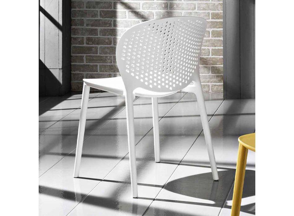 4 chaises empilables en polypropylène de conception moderne - Pocahontas