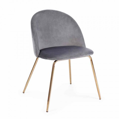 4 Chaises Design Tapissées en Velours avec Structure en Acier Homemotion - Dania