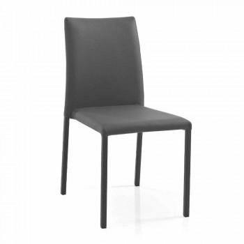 4 chaises de design moderne et élégant en cuir écologique coloré pour salon - Grenger