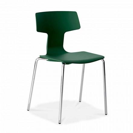 4 chaises empilables en métal et polypropylène fabriquées en Italie - Clarinda